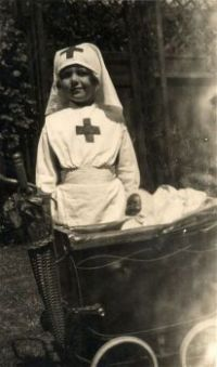 Vintage Photo  Nurse With 'Patient' in Wicker/Leather  Pram