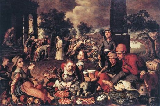 Pieter Aertsen (Dutch Northern Renaissance Painter, c 1508-1575) Market Scene with  Christ and the Adultress