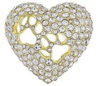 Dog or cat paw prints on your heart brooch