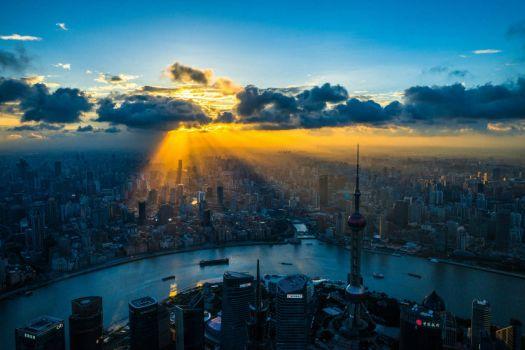 The setting sun over Shanghai