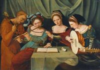 """'Three Women With A JesterMaking Music"""""""