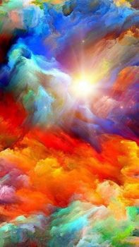Rainbow colors in the clouds! art..
