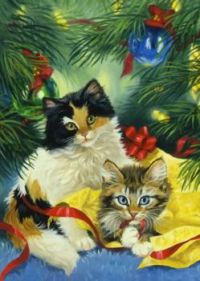 Two Calico Kittens Under the Tree