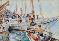 John Whorf--White Boats in the Sun, Boys Fishing