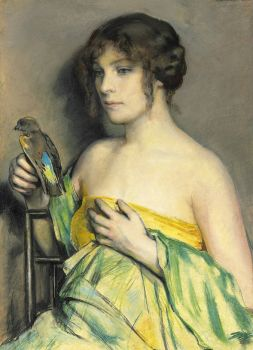 "William Sergeant Kendall, ""Woman with a Parrot"""