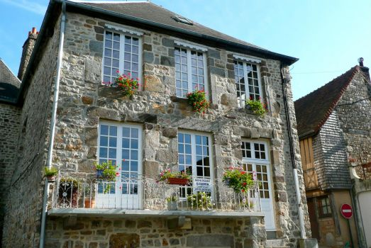 Beautiful stone house in medieval town of Domfront, France