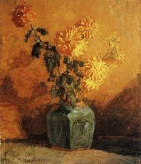 Mondrian Chrysanthemums in ginger jar