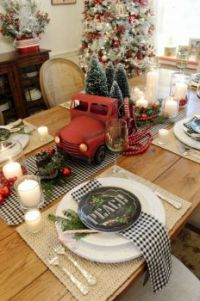 Christmas Table with Red Truck