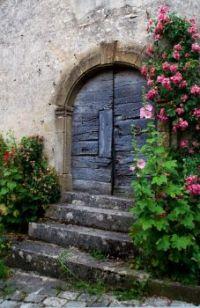 Ancient Portal and Roses - Vézelay