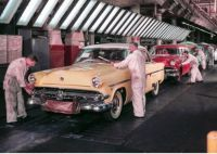 1954 Fords -- Dearborn assembly plant final line.