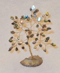 Pauva shell tree on an opalized Ammonite shell fossil