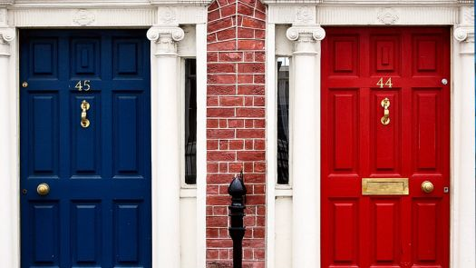 Blue, brick, and red