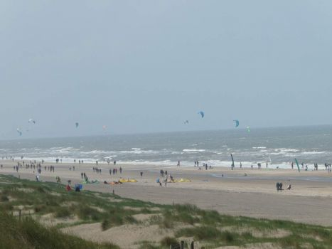 View of the Northern beach of Noordwijk. A windy afternoon