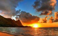 Warming ocean sunset