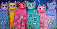 colorful-cats-in-the-moonlight