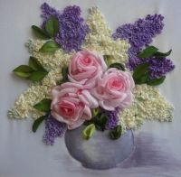 Silk roses and lilacs