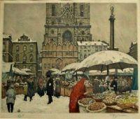 T.F. Simon - St. Nicholas (Christmas) Market in Prague. 1916