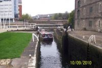 Kirkstall Flyboat entering Lock #1, Leeds & Liverpool Canal, from River Aire, Leeds