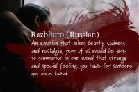 Foreign Words with no English Equivalent #13 - Razbliuto