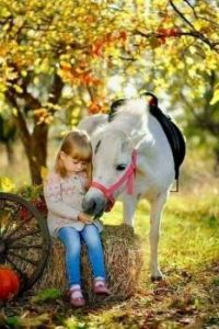 Little Girl Feeding Her Horse