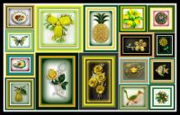 Yellow and Green Vintage Brooches