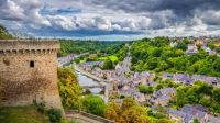 Aerial view of the town of Dinan with Rance river, Cotes-d'Armor, Bretagne, France