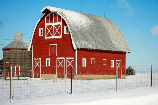 Big Red Edwin Binkert Barn in the Snow -- Iowa....