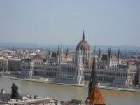 The Hungarian Parliament Building on the bank of the Danube River in Hungary
