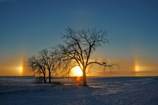 THEME: Weather: Sun Dogs at Sundown - photo by Jerry Walter