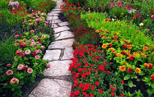 beautiful home flower garden path and rustic road