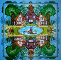 Ducks in pond . . . . .