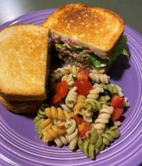 Leftover Meatloaf sandwich with tricolor rotini salad