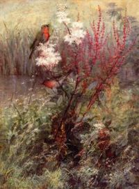 """Songbirds in a Woodland Marsh"" 1879 -Fidelia Bridges"