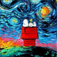 Peanuts Cartoon Starry Night