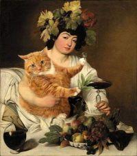 Carvaggio self portrait (Wine vs catnip -FATCATART