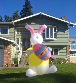 Blow up Easter Bunny on the neighbors lawn