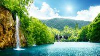 waterfall summer lake
