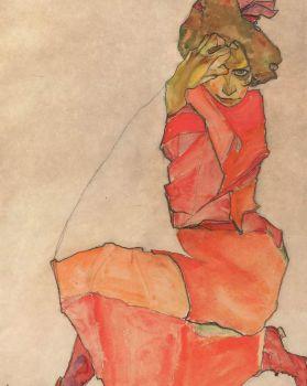 """Egon Schiele, """"Kneeling Female in Orange Dress"""""""