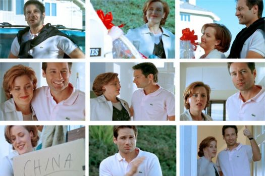"David Duchovny as Fox Mulder and Gillian Anderson as Dana Scully in the X-Files episode ""Arcadia"""