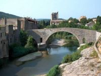 Old bridge and abbey Lagrasse, France
