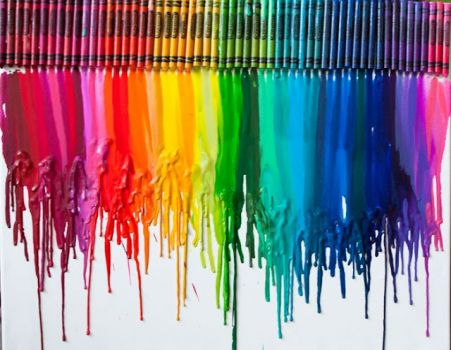 crayons on canvas