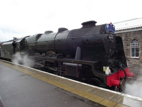 46115 scots guardsman sitting ready for tye off in inverness.on a dull damp day..