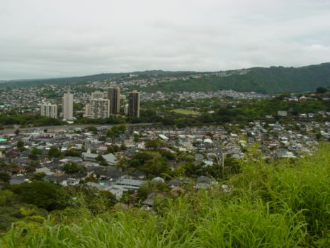 View of Honolulu from rim of National Cemetery of the Pacific (Punchbowl) - Oahu, Hi