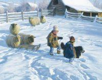 sledging in a village