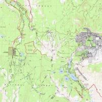 Mammoth Mountain, Lakes, City and Devil's Postpile Topo Map