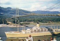 Orsova passing under Vancouver's Lions Gate Bridge, June 17th 1956