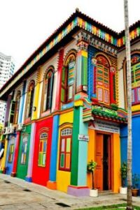Painted house in Little India, Singapore