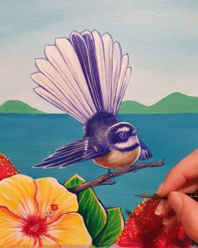 Fantail in mural