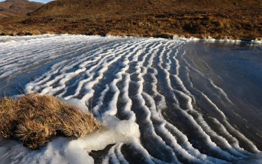 Frozen snow capped ripples