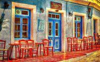 Colorful European Cafe Exterior